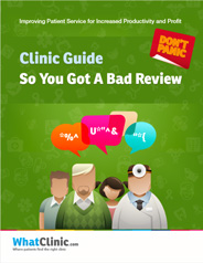 Cover of Guide to bad Reviews showing avatars of doctors and patients chatting