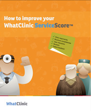 Cover of Guide to Service Score showing avatars of doctor, patients and service score sheet